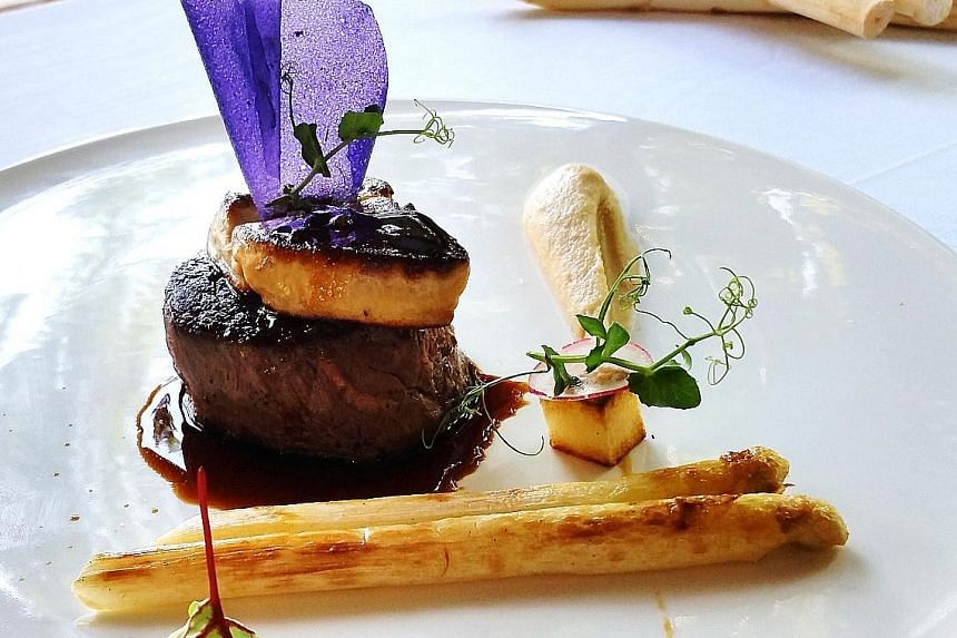 Beef Tenderloin With Foie Gras, Marsala And White Asparagus at ilLido at the Cliff.