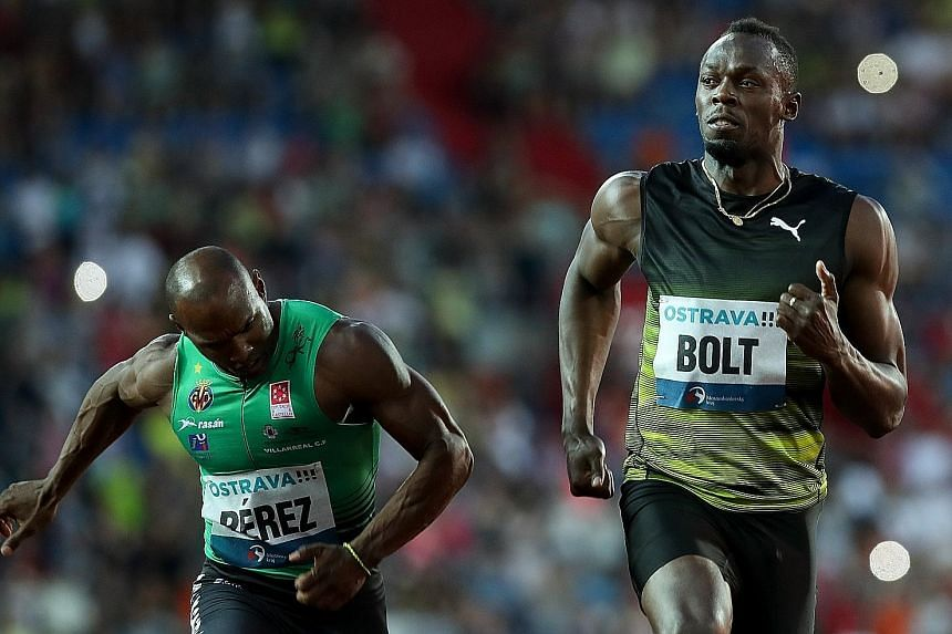 Usain Bolt struggles to win the 100m in Ostrava on Wednesday. His time of 10.06sec was only 0.03sec ahead of Cuba's Yunier Perez in second place.