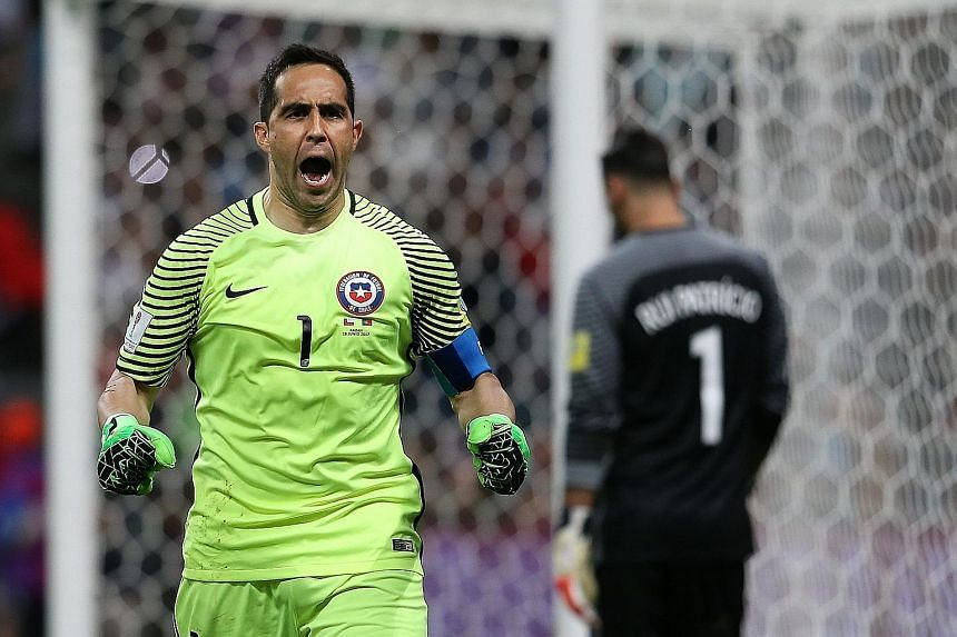 From top: Chile goalkeeper Claudio Bravo reacting in jubilation on Wednesday against Portugal in the Confederations Cup semi-final penalty shoot-out, in which he saved against Ricardo Quaresma, Joao Moutinho and Nani.