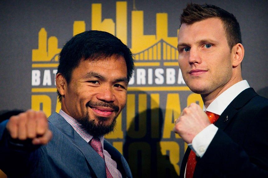 Manny Pacquiao (left) and Jeff Horn pose after a press conference to promote their upcoming WBO welterweight boxing title fight at Suncorp Stadium in Brisbane.