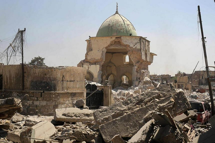 A picture taken on June 29, 2017, shows the destroyed Al-Nuri Mosque in the Old City of Mosul.