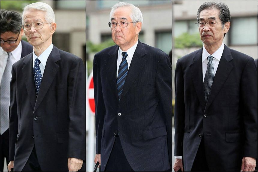 (From left) Ex-Tokyo Electric Power (Tepco) executives Tsunehisa Katsumata, Sakae Muto, and Ichiro Takekuro  pleaded not guilty on charges of professional negligence resulting in death and injury.