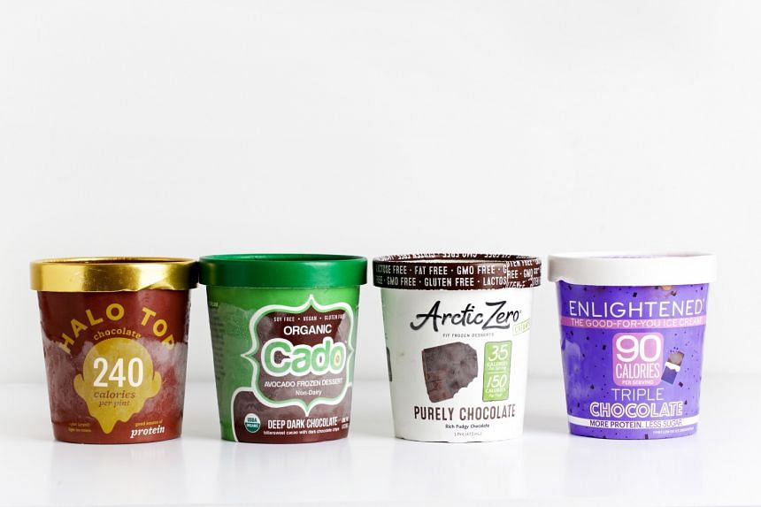 """The chocolate offerings of four brands of """"health food"""" ice cream."""