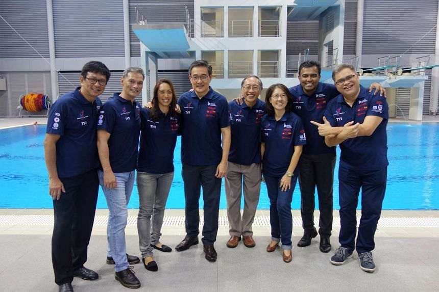 Committee members of the Singapore Swimming Association (SSA) pose for a photo during the association's Annual General Meeting at the OCBC Aquatic Centre, on June 29, 2017. From left: Mr Philip Lee, Vice-President (Synchronised Swimming), Dr Bervyn L