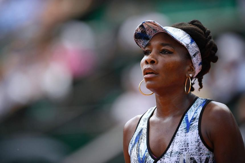 Venus Williams looks on during her tennis match against Japan's Kurumi Nara at the Roland Garros 2017 French Open.