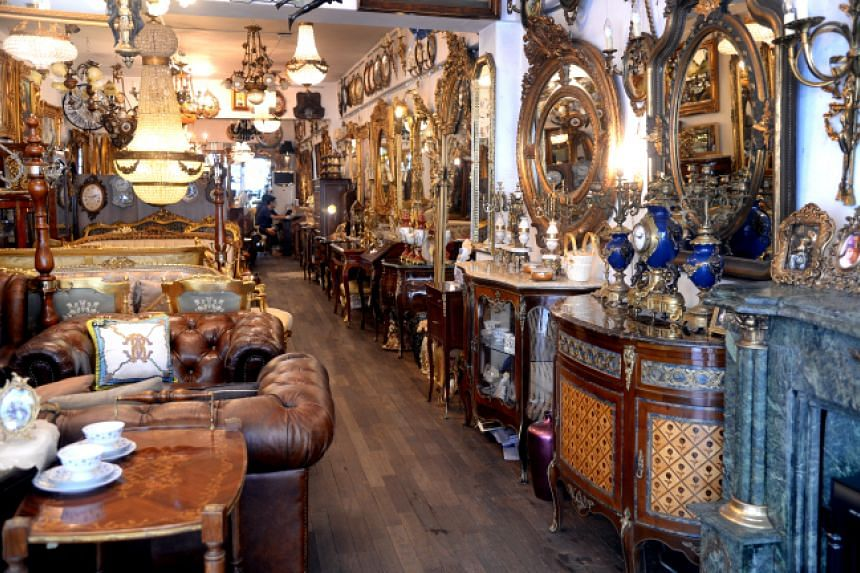 Antique furniture are displayed in a shop at Antique Furniture Street in Itaewon-dong, Seoul.