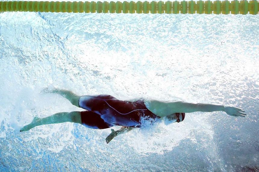 Katie Ledecky competing in the 200m freestyle final during the US Swimming National Championships in Indianapolis, Indiana, on Wednesday. She won the race in 1min 54.84sec and could potentially contest six events at the World Championships in Budapes
