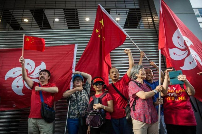 Pro-Chinese activists wave Chinese and Hong Kong flags celebrating the 20th anniversary of the city's handover from British to Chinese rule, in Hong Kong, China, on July 1, 2017.