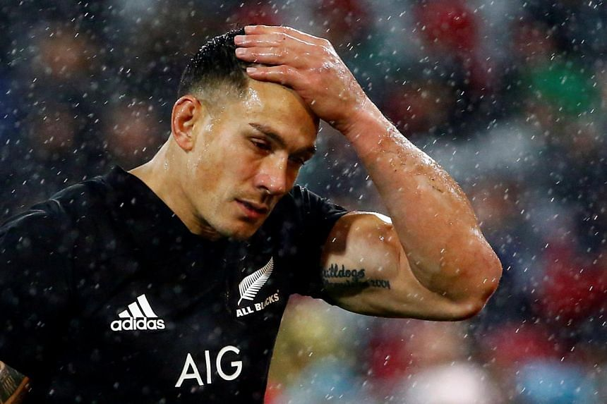 New Zealand's Sonny Bill Williams reacting after being shown the red card.