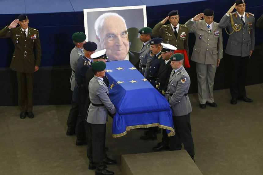 German soldiers carrying the coffin of late former German Chancellor Helmut Kohl during of a memorial ceremony at the European Parliament in Strasbourg, France on July 1, 2017.