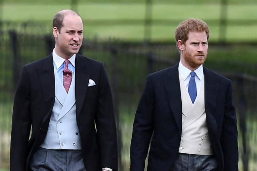 Britain's Prince Harry (right) and Prince William attend the wedding of Pippa Middleton, the sister of Britain's Catherine, Duchess of Cambridge, and James Matthews at St Mark's Church in Englefield, west of London, on May 20, 2017.