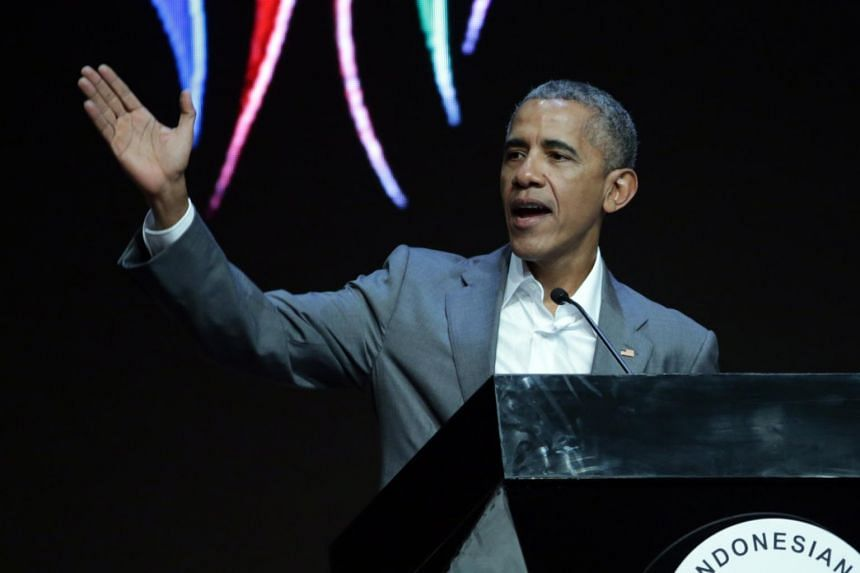 Former US president Barack Obama giving a speech during the 4th Congress of the Indonesian Diaspora in Jakarta, Indonesia on July 1, 2017.