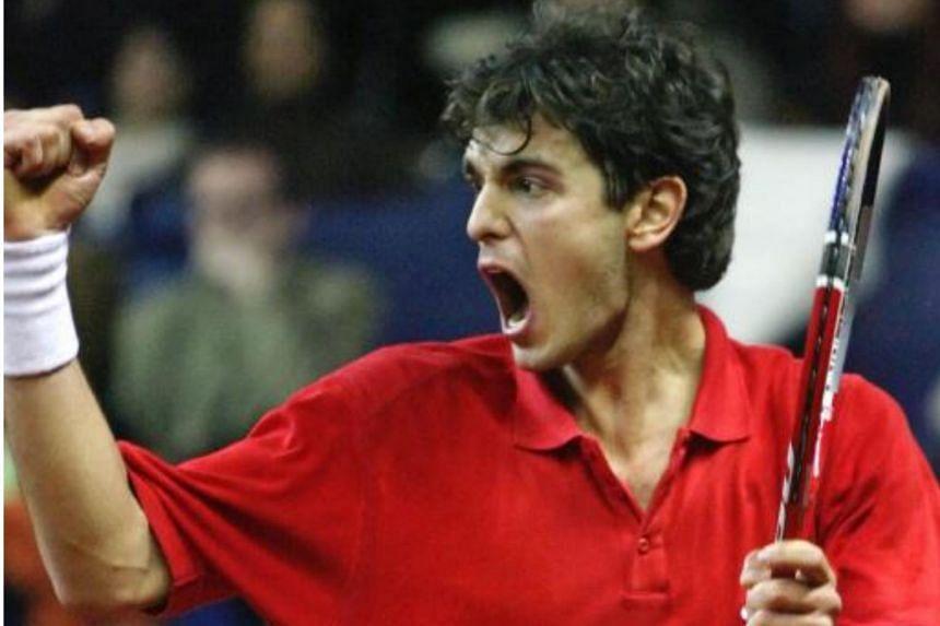 Mario Ancic of Croatia reacting after winning his Davis Cup world group first round tennis match against Juergen Melzer of Austria in Unterpremstaetten, Austria on Feb 10, 2006.