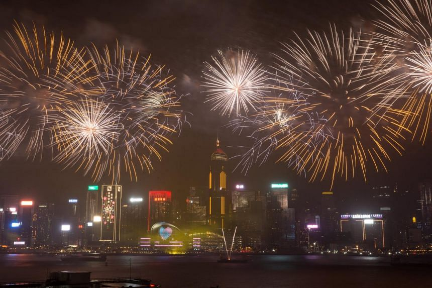 Fireworks exploding over Victoria Harbour in Hong Kong, China on July 1, 2017.