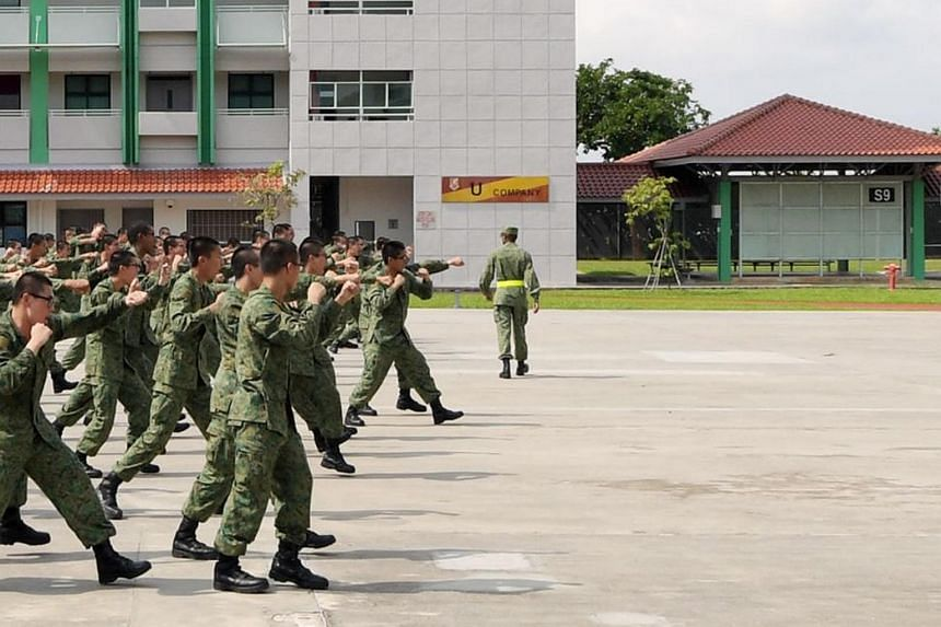 Recruits undergoing training at the Singapore Armed Forces Basic Military Training Centre in Pulau Tekong.