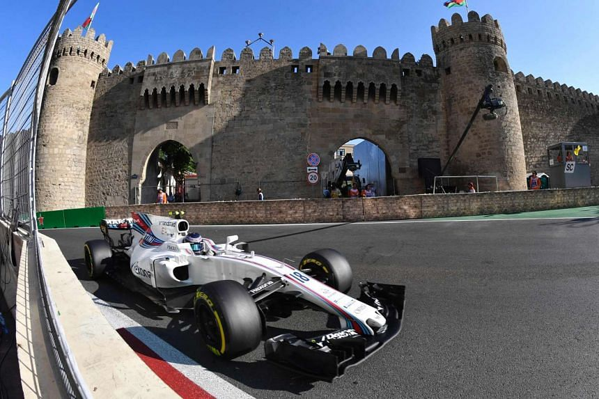 Williams' Canadian driver Lance Stroll steers his car during the Azerbaijan Grand Prix, June 25, 2017.