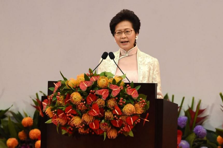 Hong Kong's new Chief Executive Carrie Lam gives a speech after being sworn in as the territory's new leader at the Hong Kong Convention and Exhibition Centre in Hong Kong on July 1, 2017.