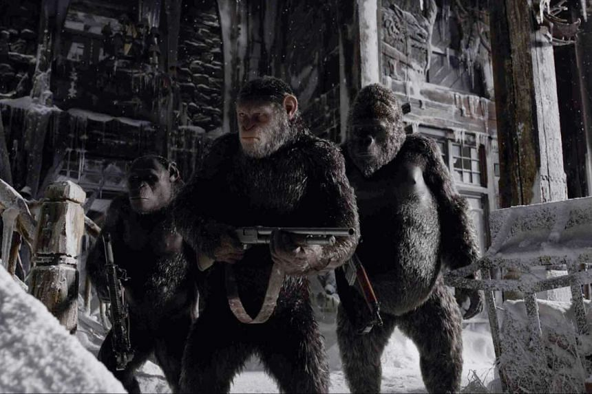 Andy Serkis (centre) plays leader Caesar in War For The Planet Of The Apes. PHOTO: TWENTIETH CENTURY FOX