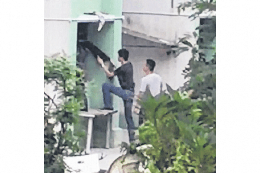 Plainclothes policemen were seen entering the back of the flat.