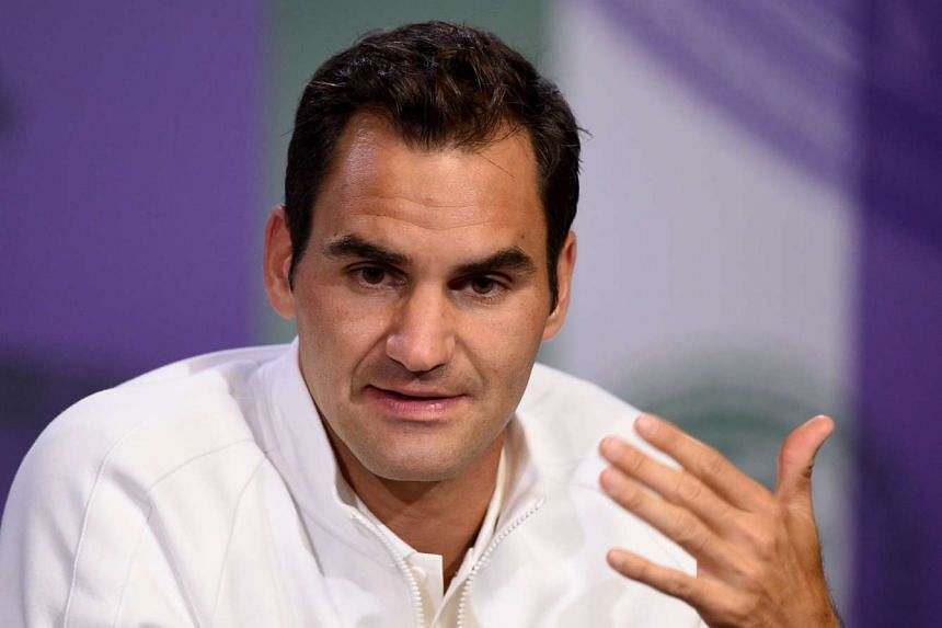Federer giving a press conference ahead of Wimbledon, July 1, 2017.