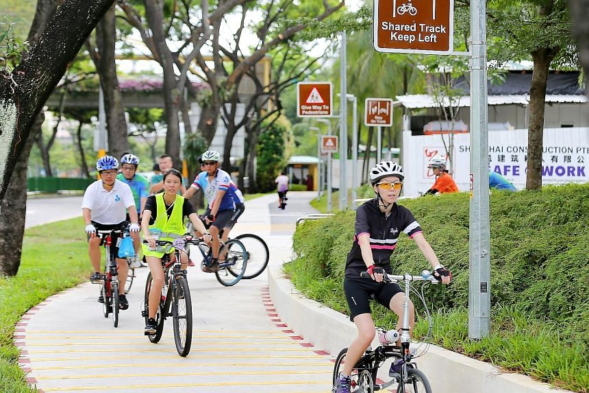 Cyclists using the new network yesterday. Connecting Jurong East 8d5d4c7ef