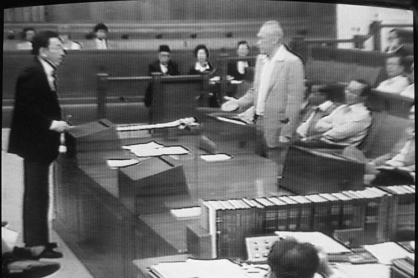 Opposition MP Chiam See Tong querying then Prime Minister Lee Kuan Yew during a Parliament sitting in 1987. Over the decades, Parliament has been the venue, on at least four occasions, where fraught and weighty issues involving officials or the Gover