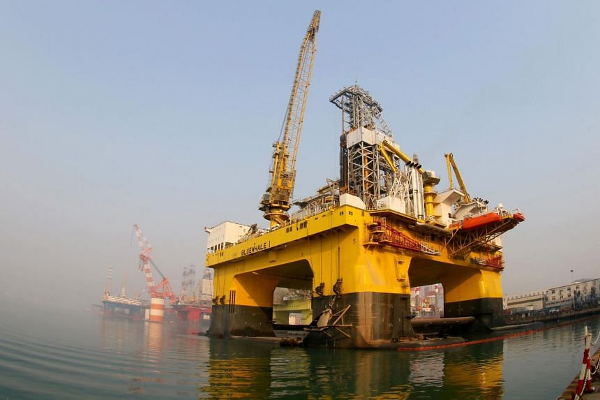 A semi-submersible drilling platform in the waters off Yantai, in China's Shandong province.