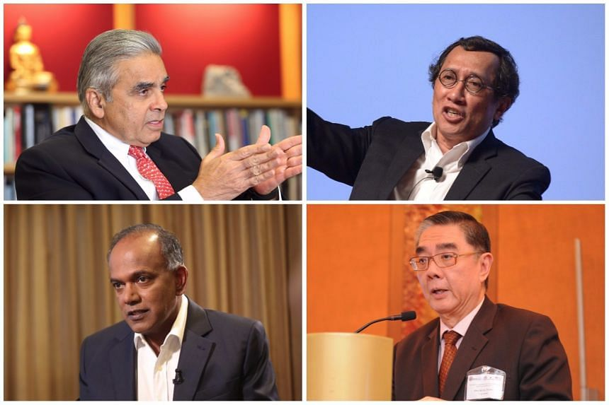 (Clockwise from top right) Ambassadors-at-Large Bilahari Kausikan, Ong Keng Yong and Home Affairs Minister K Shanmugam have all taken exception to a commentary written by Professor Kishore Mahbubani.