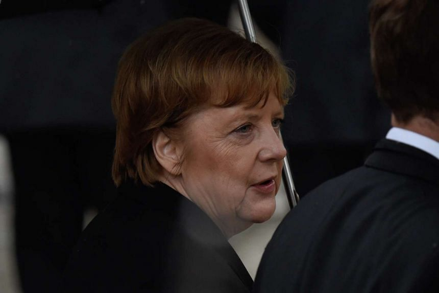 German Chancellor Angela Merkel attends the memorial service in Speyer.