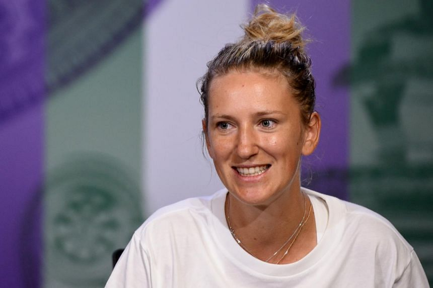 Victoria Azarenka of Belarus giving a press conference in London on July 1, 2017.