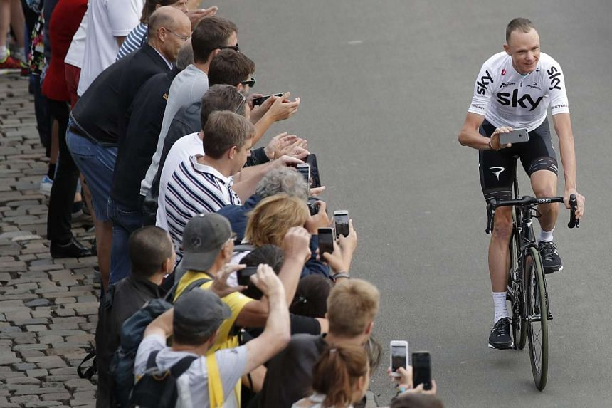 Sky team rider Christopher Froome of Great Britain parades during the opening ceremony of the 104th edition of the Tour de France 2017 cycling race in Duesseldorf, Germany, on June 29, 2017.