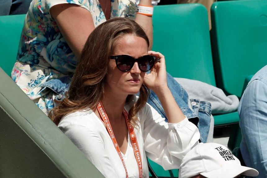 Wife of Great Britain's Andy Murray, Kim Sears watching his semi final match against Switzerland's Stan Wawrinka on June 9, 2017.