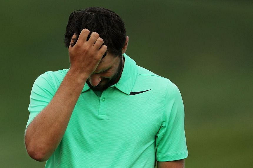 Kyle Stanley of the United States reacting after defeating Charles Howell III of the United States during a playoff in the final round of the Quicken Loans National on July 2, 2017.