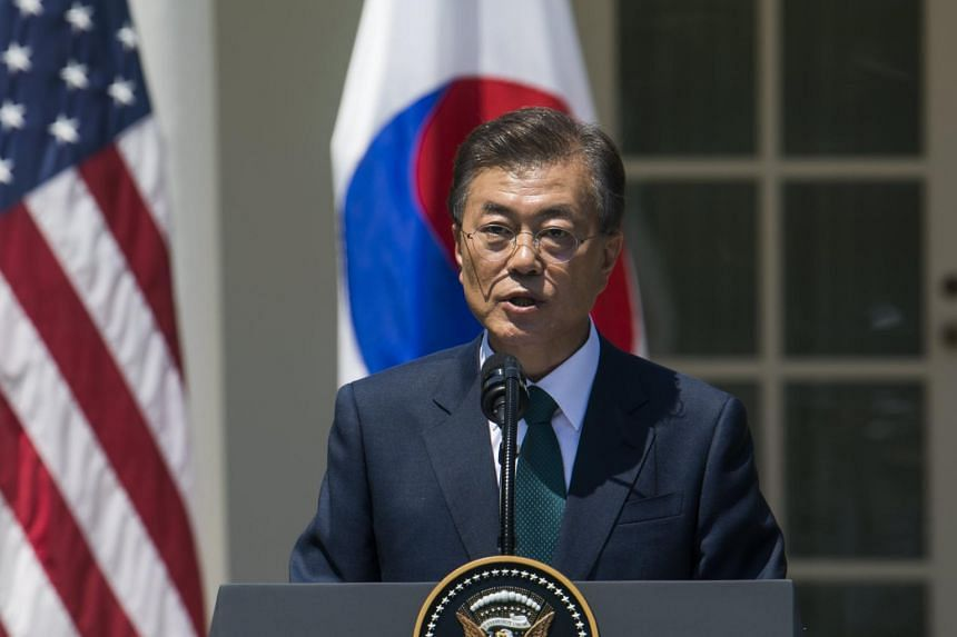 President of South Korea Moon Jae In making a statement in the Rose Garden of the White House in Washington, DC, USA on June 30, 2017.