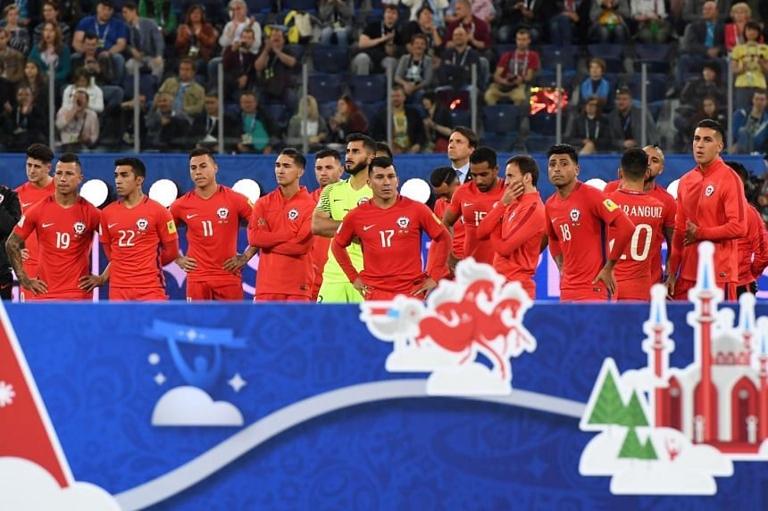 Chile players waiting for the awards ceremony after losing to Germany 1-0 in the 2017 Confederations Cup final at the Saint Petersburg Stadium in Saint Petersburg on July 2, 2017.