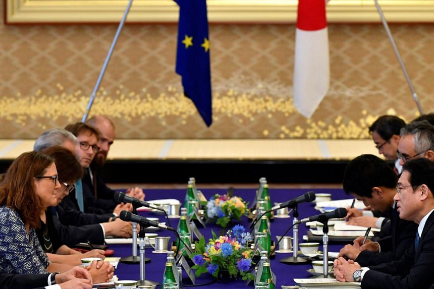 European Commissioner for Trade Cecilia Malmstrom (left) and Japanese Foreign Minister Fumio Kishida (second from right) attending their meeting as a part of the Japan-EU Economic Partnership Agreement negotiations on June 30, 2017.