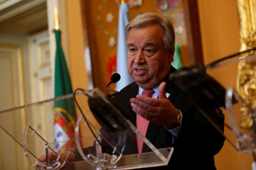 United Nations Secretary-General Antonio Guterres attending a news conference with Portugal's Foreign Affairs minister Augusto Santos (not pictured) at the Necessidades Palace in Lisbon, Portugal on July 3, 2017.