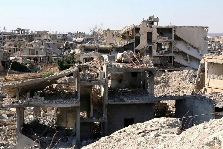 Damaged buildings in a rebel-held part of the southern city of Deraa, Syria on June 22, 2017.