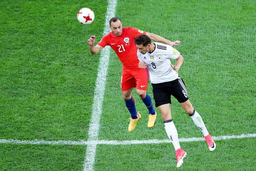 Marcelo Diaz of Chile (left) in against Leon Goretzka of Germany during the FIFA Confederations Cup 2017 final match between Chile and Germany at the Saint Petersburg stadium in St.Petersburg, Russia on July 2, 2017.
