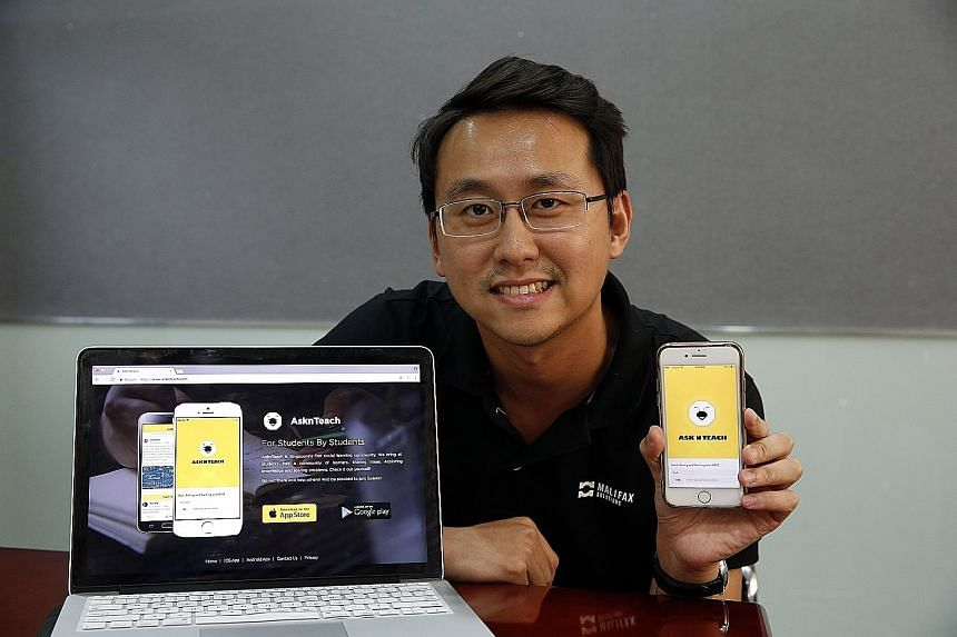 Mr Chia Luck Yong's new peer tutoring app focuses on getting other students to answer the questions that students need help with.