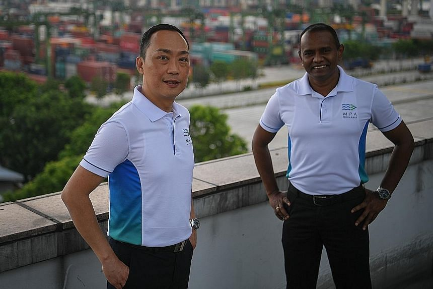 Captains Kevin Wong and Daknash Ganasen started out cleaning toilets and filling up sandbags on ships some 30 years ago. Capt Wong is now port master, while Capt Daknash is director of shipping and marine at MPA.