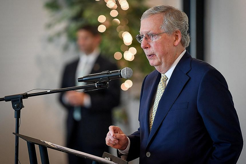 Senate majority leader Mitch McConnell speaking at a Kentucky fund-raiser last Friday. The veteran politician is credited by analysts with putting conservative judge Neil Gorsuch on the Supreme Court bench, even though President Donald Trump regularl