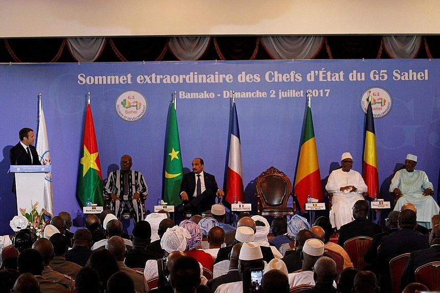 French President Emmanuel Macron speaking at a G-5 Sahel summit in Bamako, Mali, yesterday. Five countries have pledged to set up a joint force to combat the wave of Islamist attacks at the south of the Sahara.