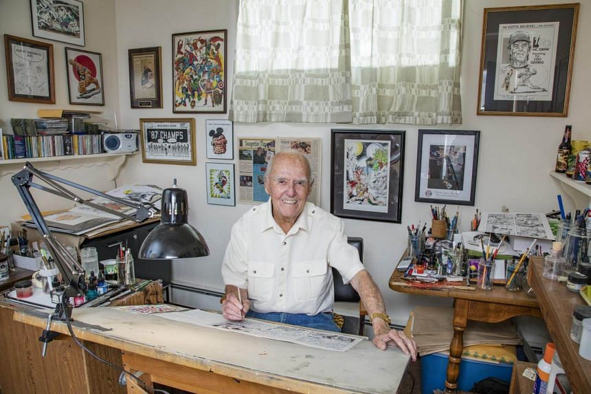Joe Sinnott, 90, who has been inking and drawing comics for over 60 years, working at his studio in Saugerties, New York.
