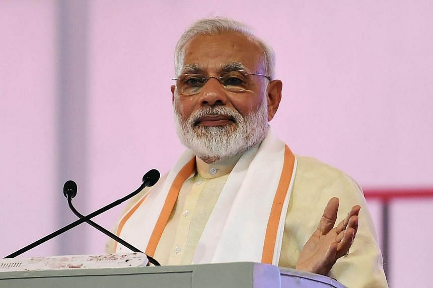 Indian Prime Minister Narendra Modi giving a speech during an event, on June 29, 2017.