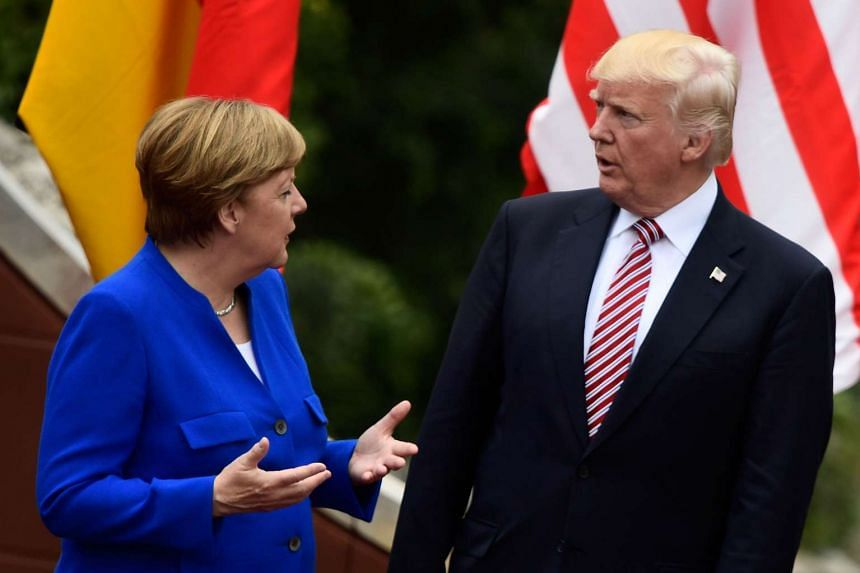 Merkel and Trump at the G-7,Summit on May 26, 2017, in Sicily.