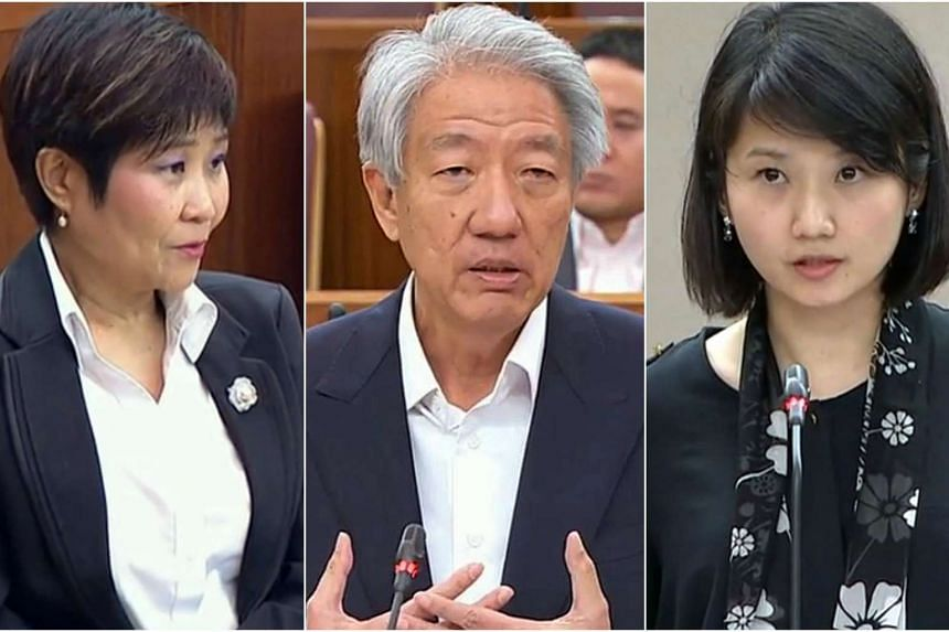 (From left) NMP Chia Yong Yong, DPM Teo Chee Hean and MP Sun Xueling speaking in Parliament on July 3, 2017.