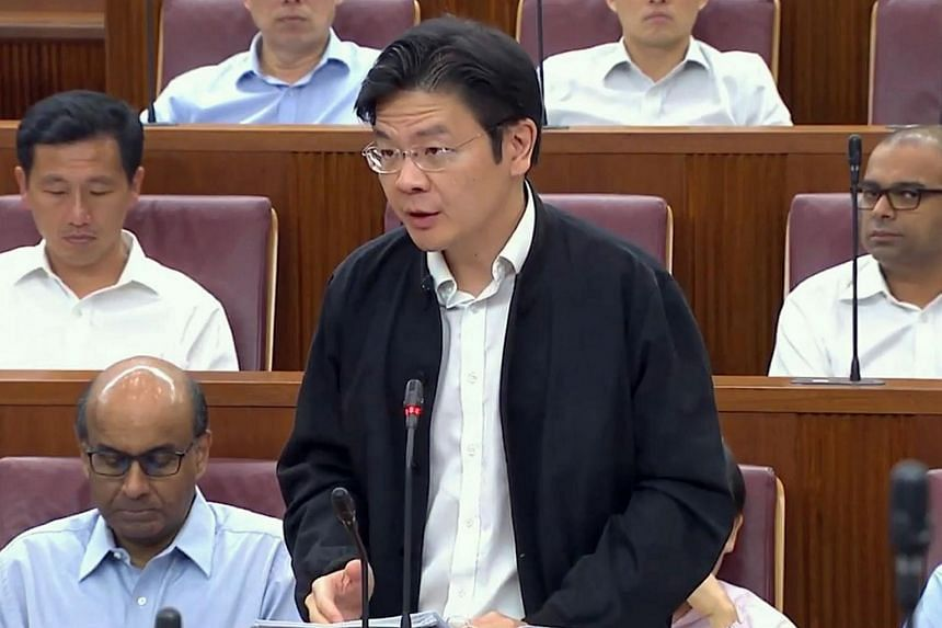 National Development Minister Lawrence Wong speaking in Parliament on July 3, 2017.