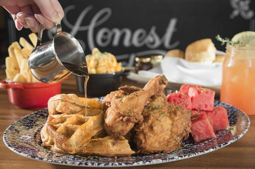 The Bird's signature dish, Chicken 'n' Watermelon 'n' Waffles. The chicken is brined for almost 27 hours in a special recipe.