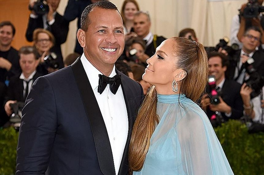 Alex Rodriguez and Jennifer Lopez at the Rei Kawakubo/Comme Des Garcons: Art Of The In-Between Costume Institute Gala at the Metropolitan Museum of Art in New York City on May 1.